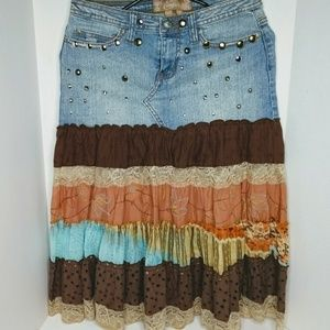 Candie's denim, lace and fabric boho style skirt